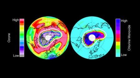 Уменьшение толщины озонового слоя над Арктикой