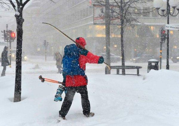 Снегопад парализовал Стокгольм