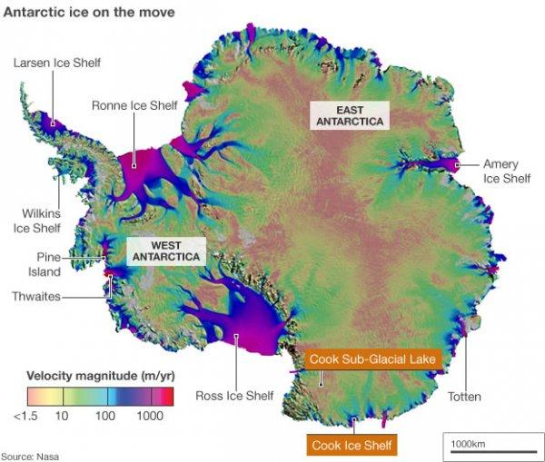 Скорость потери льда в шельфовых зонах Антарктики.